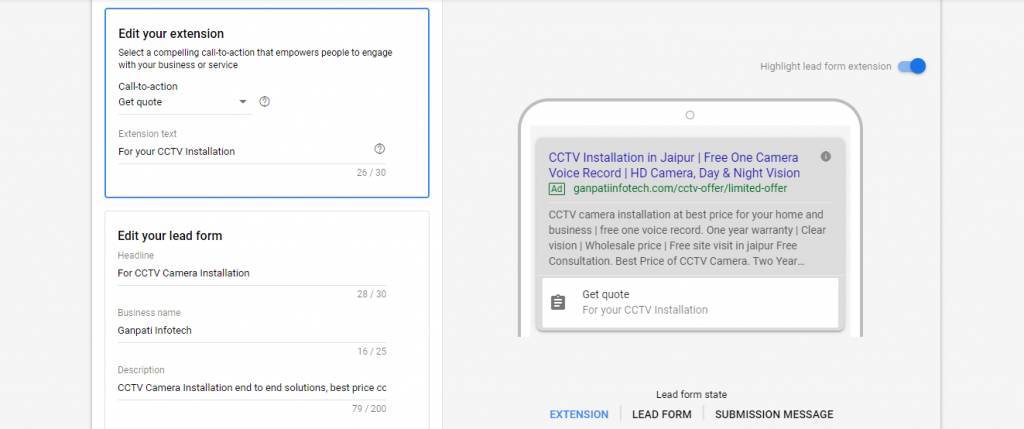 Extension Section of Google lead form extension
