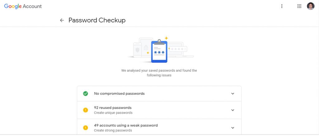 Password-Checkup dashboard