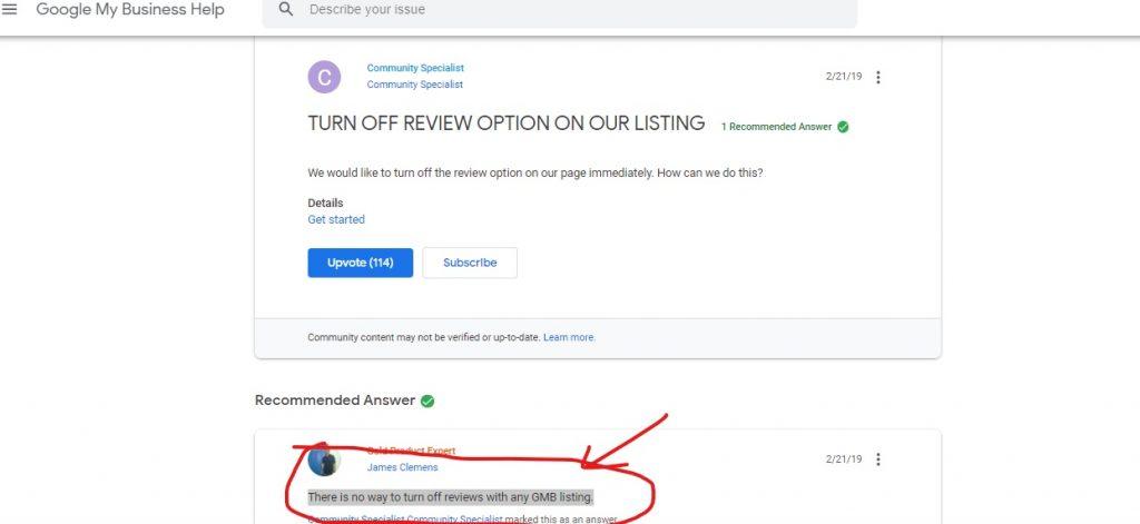 turnoff google review-answer verification