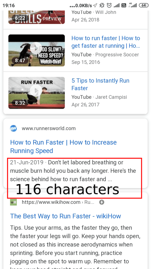 In mobile meta description is up-to120characters