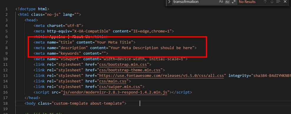 html showing meta description