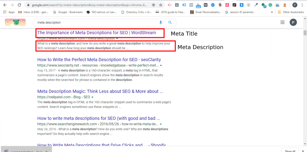 meta tag at google search engine